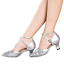 cheap Women's Heels-Women's Latin Shoes Sparkling Glitter / Paillette / Synthetic Sandal / Heel / Sneaker Sequin / Sparkling Glitter / Buckle Cuban Heel Non Customizable Dance Shoes Red / Silver / Gold / Indoor