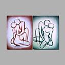 billige Oliemalerier-Hånd-malede Nøgen Oliemalerier,Moderne To Paneler Canvas Hang-Painted Oliemaleri For Hjem Dekoration