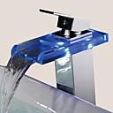abordables Robinets de Lavabo-Robinet lavabo - Jet pluie Chrome Set de centre 1 trou / Mitigeur un trouBath Taps / Laiton