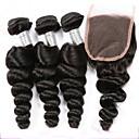 baratos Um pacote de cabelo-3 pacotes com fechamento Cabelo Peruviano Ondulação Larga Cabelo Virgem / Cabelo Humano Trama do cabelo com Encerramento 8-20 polegada Tramas de cabelo humano Sem Cheiros / extensão / Natural