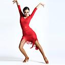 tanie Stroje do tańca latino-Taniec latynoamerykański Suknie Damskie Wydajność Spandeks Frędzel Rękaw 1/2 Wysoki Ubierać / Latin Dance