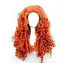 billige Syntetiske parykker uten hette-Syntetiske parykker Krøllet Asymmetrisk frisyre Syntetisk hår Naturlig hårlinje Rød Parykk Dame Lang Lokkløs