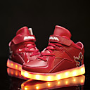 preiswerte Kleidersets für Jungen-Jungen-Sneaker-Lässig-Leder-Flacher Absatz-Neuheit Light Up Schuhe-Schwarz Blau Rot Weiß
