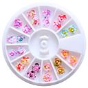 abordables Purpurina para Manicura-12 colores de 6 mm de resina de flores 3d de los pernos prisioneros del arte del clavo extremidades del brillo de las ruedas DIY