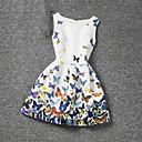 رخيصةأون فساتين البنات-فستان بدون كم طباعة زهري فتيات أطفال