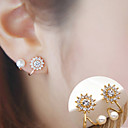 cheap Earrings-Women's Cubic Zirconia Pearl Stud Earrings - Flower, Sunflower Simple Style, Fashion Silver / Golden For Daily Casual / 2pcs