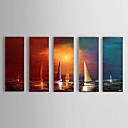 billige Oliemalerier-Hang-Painted Oliemaleri Hånd malede - Landskab Moderne Lærred / Fem Paneler