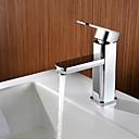 cheap Bathroom Sink Faucets-Contemporary Deck Mounted Ceramic Valve Single Handle One Hole Chrome, Bathroom Sink Faucet Bath Taps