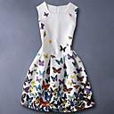 ieftine Seturi Îmbrăcăminte Fete-Copii Fete De Bază Zilnic Fluture Imprimeu Fără manșon Bumbac Rochie Alb