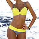 זול Fashion Ring-M L XL דפוס משובץ דמקה, בגדי ים ביקיני נועזת כתום צהוב אדום כתפיה בגדי ריקוד נשים