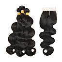 cheap One Pack Hair-8 26 peruvian weave body wavy virgin hair 3 bundles with 1 piece 4 x4 closure natural black color