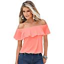 baratos Acessórios de Cabelo-Mulheres Camiseta Frufru, Sólido Algodão Decote Canoa / Verão