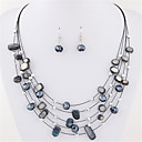 cheap Men's Necklaces-Women's Crystal Layered Jewelry Set - Crystal, Shell Statement, Bohemian, Basic Include Drop Earrings / Necklace / Earrings / Layered Necklace Blue / Rainbow / Light Green For Party / Daily