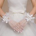 cheap Party Gloves-Lace / Net / Polyester Wrist Length Glove Bridal Gloves / Party / Evening Gloves With Floral