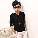 billige Topper til gutter-Barn Gutt Ensfarget Langermet Bomull T-skjorte