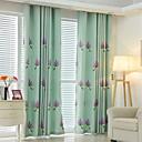 זול וילונות חלון-שני פנאלים גס / מודרני / ניאוקלאסי / ים- תיכוני / ארופאי פרחוני / בוטני כחול / ירוק / ורוד / כחול ירקרק חדר שינה תערובת פוליאסטר/כותנה