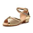 זול נעליים לטיניות-נעליים לטיניות נצנצים / Paillette עקבים פאייטים שטוח מותאם אישית נעלי ריקוד כסף / אדום / מוזהב / בבית / עור / אימון