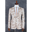 זול אביזרים לגברים-שמפנייה דפוס גזרה רגילה פוליאסטר חליפה - פתוח Single Breasted Two-button
