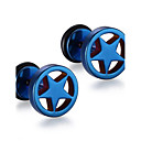 cheap Men's Earrings-Men's Stud Earrings - Stainless Steel Star Punk, Fashion Blue / Golden / Rainbow For Christmas Gifts / Daily / Casual