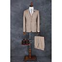 hesapli Takım Elbiseler-Haki Damalı / Gingham Kişiye Özel Kalıp Polyester Takım elbise - Zirve Tek Sıra Düğmeli Bir Düğme
