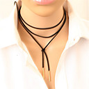 cheap Necklaces-Women's Long Choker Necklace / Tattoo Choker - Leather Ladies, Personalized, Tattoo Style, Punk Black, Silver Necklace Jewelry For Party, Daily, Casual