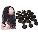cheap One Pack Hair-4 Bundles Brazilian Hair 360 Frontal / Body Wave Virgin Human Hair Hair Weft with Closure Human Hair Weaves Human Hair Extensions