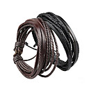 cheap Men's Bracelets-Unisex Layered / Plaited Wrap Bracelet - Leather Simple Style, Multi Layer Bracelet Black / Brown For Christmas Gifts / Party / Daily
