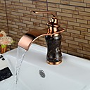cheap Kitchen Faucets-Bathroom Sink Faucet - Waterfall Rose Gold Centerset Single Handle One HoleBath Taps