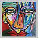 זול ציורי שמן-ציור שמן צבוע-Hang מצויר ביד - מופשט קלסי עם מסגרת / בד מתוח
