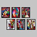 abordables Cuadros Enmarcados-Abstracto Fantasía Lienzo enmarcado Conjunto enmarcado Arte de la pared,PVC Material Negro Passepartout no incluido con Marco For