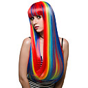 cheap Synthetic Capless Wigs-rainbow color long hair fashion wig