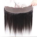 billige Lukning og frontside-Peruviansk hår 100 % håndknyttet Rett Gratis Part Sveitsisk blonde Remy-hår / Ekte hår