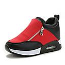 cheap Women's Sneakers-Women's Shoes Synthetic Spring / Fall Comfort Sneakers Walking Shoes Flat Heel Zipper Black / Silver / Red