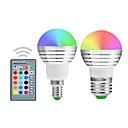 billige Motor & deler-YWXLIGHT® 2pcs 5 W 300 lm E14 / E26 / E27 LED-globepærer 1 LED perler Integrert LED Mulighet for demping / Fjernstyrt / Dekorativ RGB 220-240 V / 110-130 V / 85-265 V / 2 stk. / RoHs
