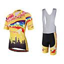 cheap Speakers-Miloto Women's Short Sleeve Cycling Jersey with Bib Shorts - Yellow Rainbow Bike Bib Shorts / Jersey / Bib Tights, Quick Dry, Breathable, Sweat-wicking Polyester, Lycra Rainbow / Stretchy
