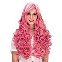 זול אביזרים לשיער-פאות סינתטיות / פאות לתחפושות מתולתל ורוד עם פוני שיער סינטטי ורוד פאה בגדי ריקוד נשים ארוך ללא מכסה