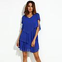 Χαμηλού Κόστους Αξεσουάρ κεφαλής για πάρτι-Γυναικεία Μεγάλα Μεγέθη Φαρδιά / Skater Φόρεμα - Μονόχρωμο, Επίπεδα Πάνω από το Γόνατο Λαιμόκοψη V Μπλε