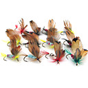 cheap Fishing Lures & Flies-12pcs pcs Fishing Lures Soft Jerkbaits Flies Soft Bait Feather Polyester Carbon Steel Sea Fishing Fly Fishing Bait Casting Freshwater