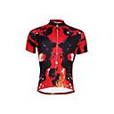 billige Cykeltrøjer-ILPALADINO Herre Kortærmet Cykeltrøje - Rød Mode Cykel Trøje Toppe, Åndbart Hurtigtørrende Ultraviolet Resistent 100% Polyester / Elastisk / Refleksbånd / Svedreducerende