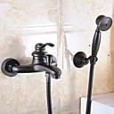 billige Herre Ure-Moderne Vægmonteret Håndbruser inkluderet Keramik Ventil To Huller Enkelt håndtere to Huller Olie-gnedet Bronze, Håndvasken vandhane