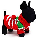 cheap Pet Christmas Costumes-Cat Dog Sweater Dog Clothes Stripe White Red Green Cotton Costume For Pets Men's Women's Holiday Keep Warm Christmas