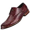 billige Oxfordsko til herrer-Herre Læder sko Læder Forår / Efterår Komfort Oxfords Skridsikker Sort / Brun / Bourgogne