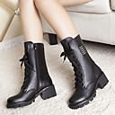preiswerte Damen Stiefel-Damen Schuhe Leder Herbst Stiefel Blockabsatz / Block Ferse Schwarz