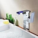 baratos Torneiras de Banheiro-Torneira pia do banheiro - Cascata Cromado Pia Uma Abertura / Monocomando e Uma AberturaBath Taps