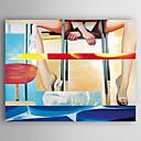 preiswerte Wand-Sticker-Hang-Ölgemälde Handgemalte - Menschen Modern Segeltuch