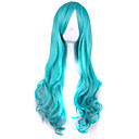 cheap Synthetic Capless Wigs-Synthetic Wig / Cosplay & Costume Wigs Curly / Deep Wave Asymmetrical Haircut Synthetic Hair Natural Hairline Blue Wig Women's Long Capless