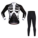 cheap Halloween & Carnival Costumes-WOSAWE Long Sleeves Cycling Jersey with Tights - Black Bike Clothing Suits, Quick Dry, Reflective Strips