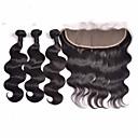 baratos Um pacote de cabelo-Cabelo Indiano Onda de Corpo Trama do cabelo com Encerramento Tramas de cabelo humano Preto Natural Extensões de cabelo humano