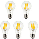 cheap LED String Lights-5pcs 800 lm E26/E27 LED Filament Bulbs A60(A19) 8 leds COB Decorative Warm White Cold White AC 85-265V