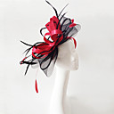 cheap Party Headpieces-Flax / Feather Fascinators / Headwear with Floral 1pc Wedding / Special Occasion Headpiece